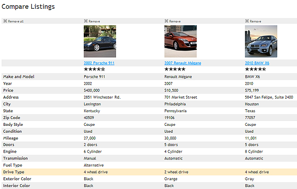 Compare Listings Feature - Compare Listings