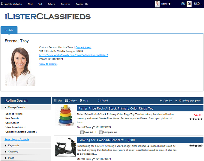 iLister Business Listing Software: User Search Feature